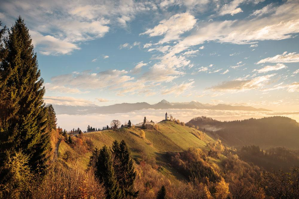 View of Slovenian landscape in the sunset