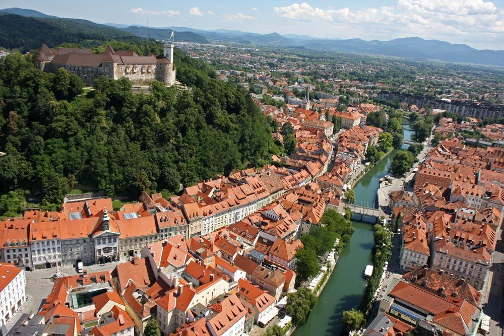 Slovenia - A view of Ljubljana old city center and the castle