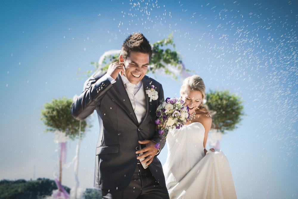Rice falling on newlywed couple