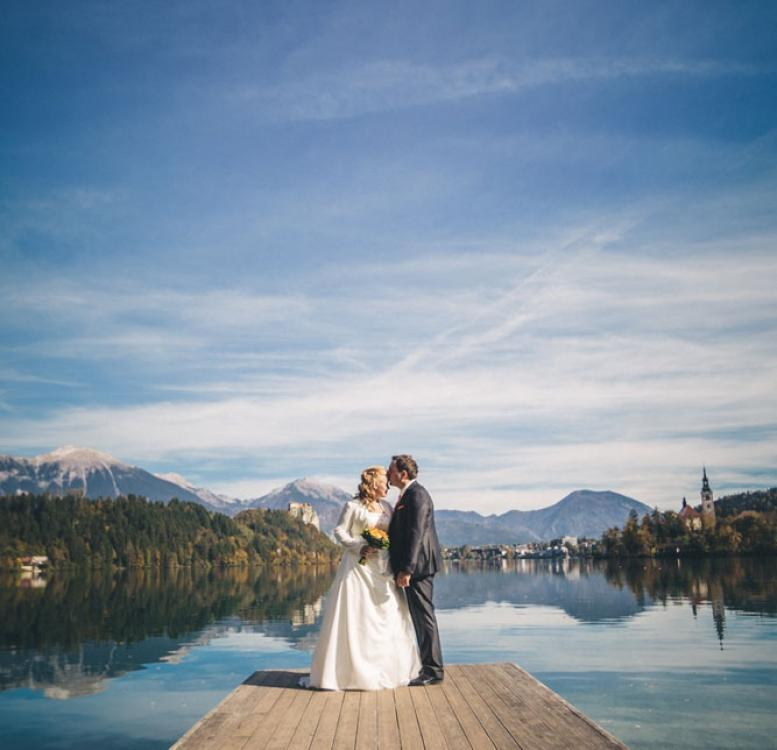 Couple on a deck on Lake Bled