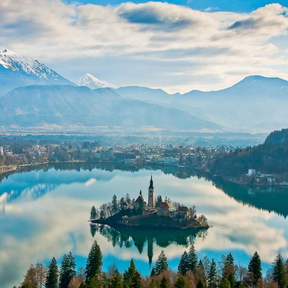 Slovenia - Cloud reflections on Bled Lake