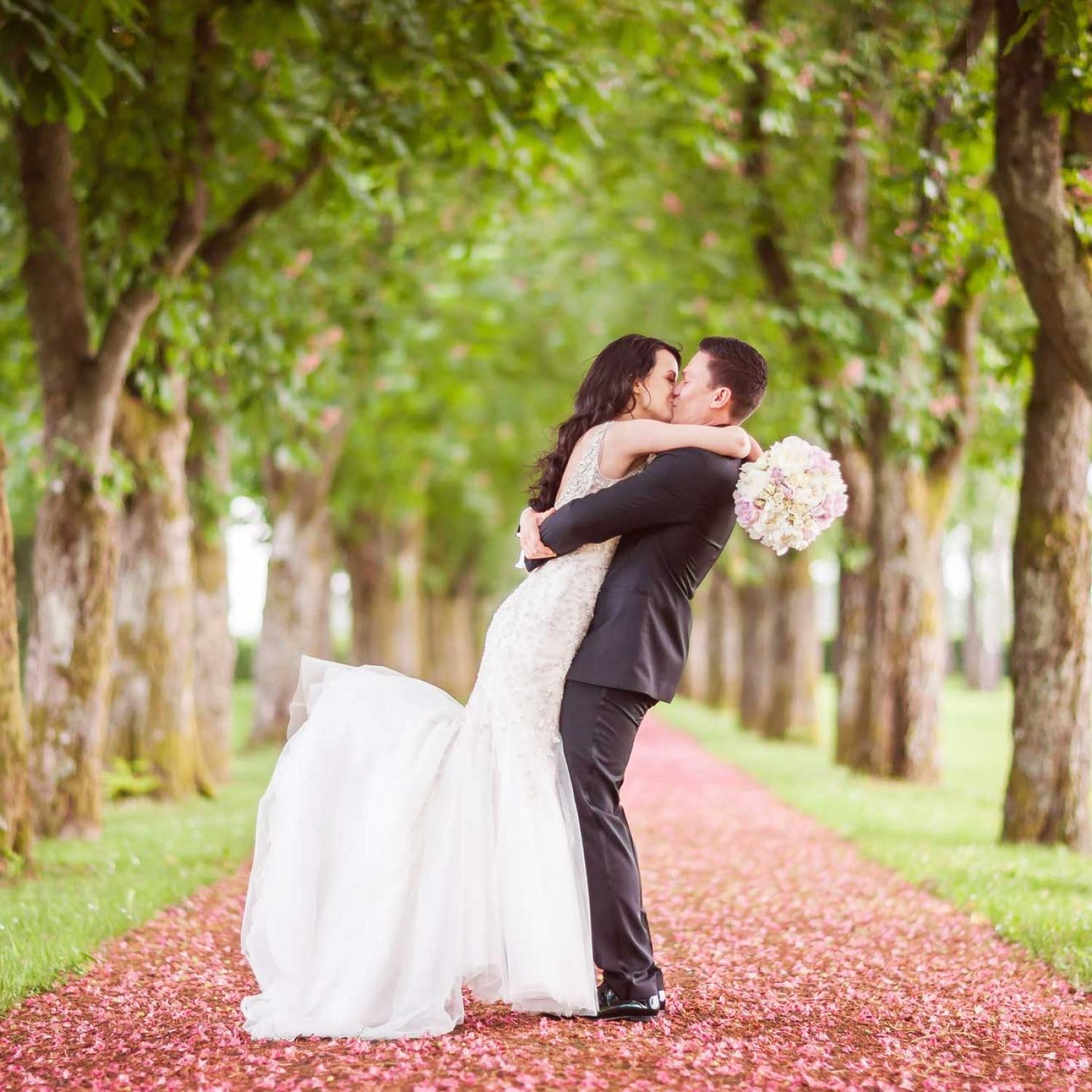 Newlyweds kissing in Brdo