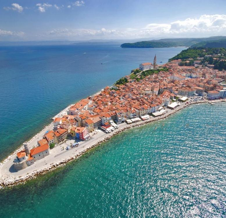 Slovenia - Piran coastline from high above